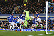 Everton Goalkeeper Joel Robles punches clear as Newcastle press for a goal. Barclays Premier League match, Everton v Newcastle United at Goodison Park in Liverpool on Wednesday 3rd February 2016.<br /> pic by Chris Stading, Andrew Orchard sports photography.