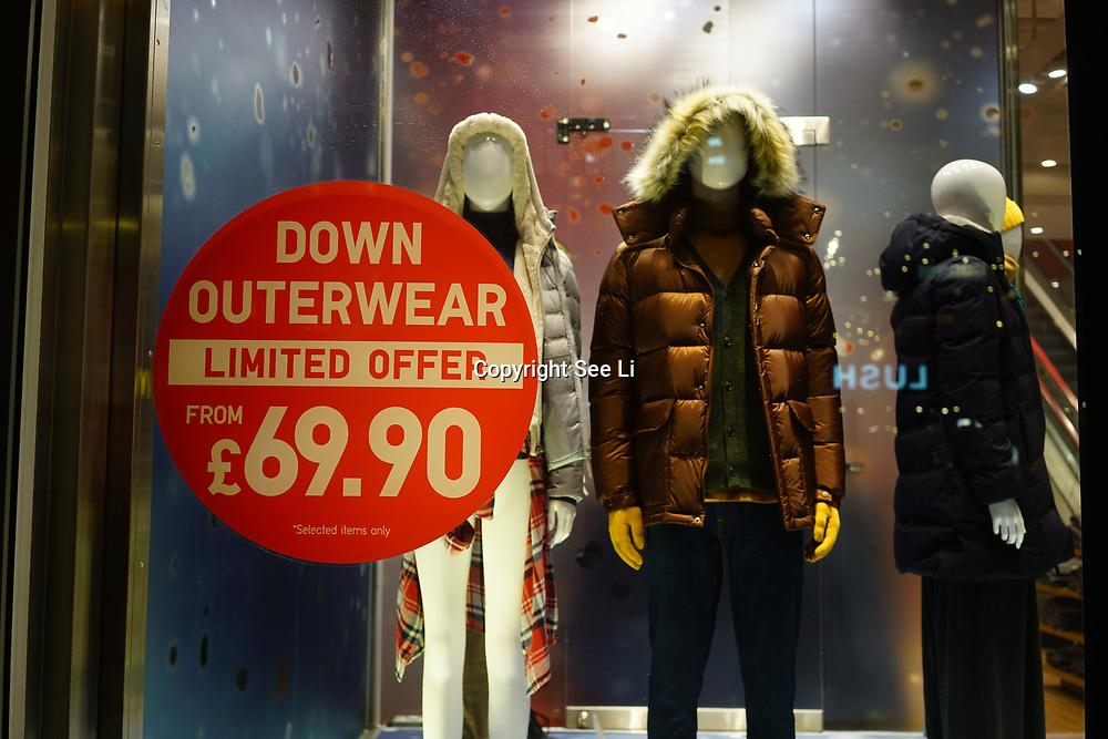 London, England, UK. 9th November 2017. Oxford Street Christmas lights and Shop window, London, UK