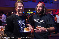 Ingo Riedeberger (Intermot) and Christoph Blumberg (Kraftrad Magazine) having a great evening Intermot sponsored party at the very cool New Yorker / Dock One warehouse after another day at the Intermot Motorcycle Trade Fair. Cologne, Germany. Thursday October 6, 2016. Photography ©2016 Michael Lichter.