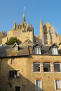 Mont Saint-Michel - Houses & Abbey - Brittany - France .<br /> <br /> Visit our MEDIEVAL PHOTO COLLECTIONS for more   photos  to download or buy as prints https://funkystock.photoshelter.com/gallery-collection/Medieval-Middle-Ages-Historic-Places-Arcaeological-Sites-Pictures-Images-of/C0000B5ZA54_WD0s