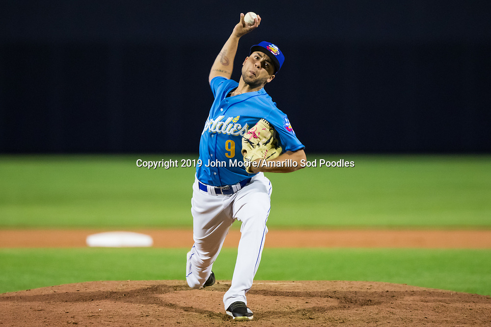 Amarillo Sod Poodles pitcher J.C. Cosme (9) pitches against the Tulsa Drillers on Saturday, June 15, 2019, at HODGETOWN in Amarillo, Texas. [Photo by John Moore/Amarillo Sod Poodles]