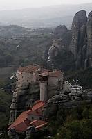 Greece, Meteora, Roussanou Monastery in gloaming light