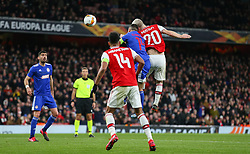 Shkodran Mustafi of Arsenal heads goalwards - Mandatory by-line: Arron Gent/JMP - 27/02/2020 - FOOTBALL - Emirates Stadium - London, England - Arsenal v Olympiacos - UEFA Europa League Round of 32 second leg