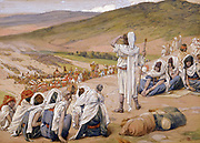 """Jacob Sees Esau Coming to Meet Him Gen. xxxiii. 1 """"And Jacob lifted up his eyes, and looked, and, behold, Esau came, and with him four hundred men. And he divided the children unto Leah, and unto Rachel, and unto the two handmaids. From the book ' The Old Testament : three hundred and ninety-six compositions illustrating the Old Testament ' Part I by J. James Tissot Published by M. de Brunoff in Paris, London and New York in 1904"""