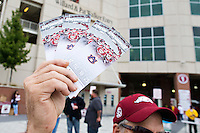 FAYETTEVILLE, AR - OCTOBER 24:  Fan of the Arkansas Razorbacks selling his four tickets before a game against the Arkansas Razorbacks at Razorback Stadium Stadium on October 24, 2015 in Fayetteville, Arkansas.  (Photo by Wesley Hitt/Getty Images) *** Local Caption ***