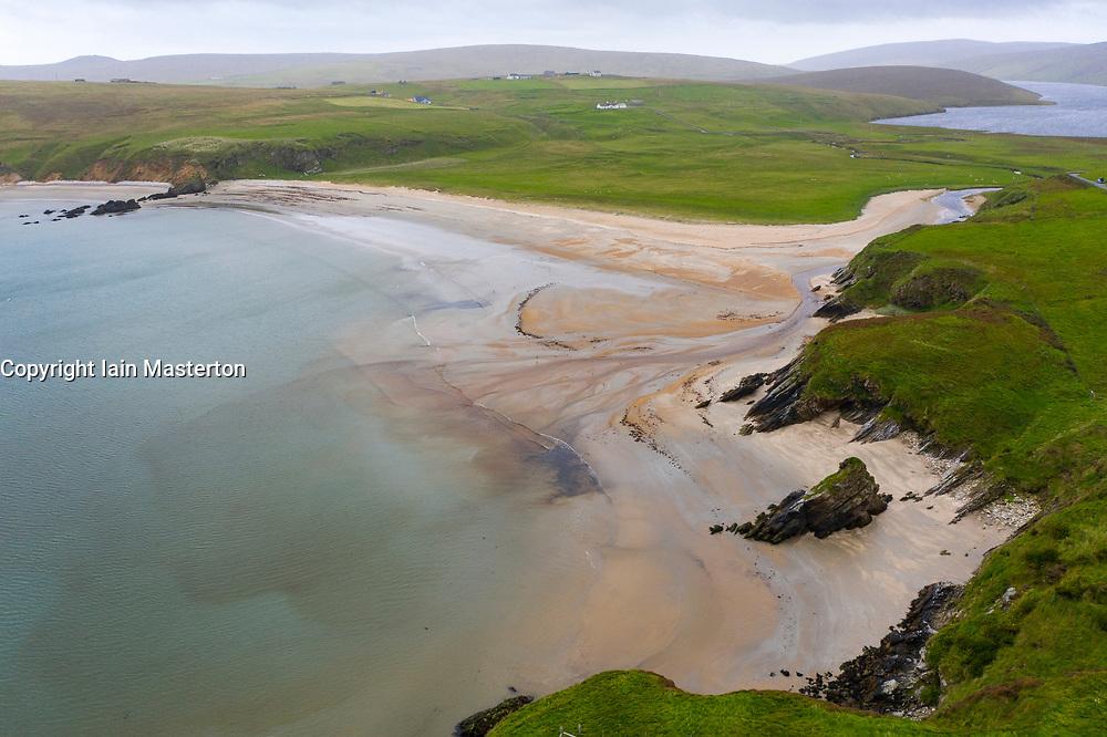 View of beach at Burrafirth on the Burra Firth on island of Unst,   Shetland, Scotland, UK