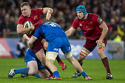 December 30, 2018 - Limerick, Ireland - Dave Kilcoyne of Munster tackled by Jack Conan of Leinster during the Guinness PRO14 match between Munster Rugby and Leinster Rugby at Thomond Park in Limerick, Ireland on December 29, 2018  (Credit Image: © Andrew Surma/NurPhoto via ZUMA Press)