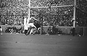 All Ireland Senior Football Championship Final, Kerry v Down, 22.09.1968, 09.22.1968, 22nd September 1968, Down 2-12 Kerry 1-13, Referee M Loftus (Mayo)..With Down goalie P. Kelly caught off guard the ball goes toward goal but ball went wide,
