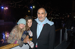 Left to right, SIDOINE RODDAM, BELLA YENTOB and her father ALAN YENTOB at the opening of the Natural History Museum's ice rink, Cromwell Road, London on 14th November 2006.<br />