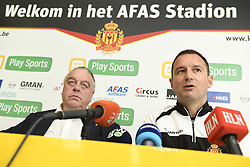November 2, 2017 - Mechelen, BELGIUM - Mechelen's chairman Johan Timmermans and Mechelen's new head coach Aleksandar Jankovic pictured during a press conference of Belgian first division soccer team KV Mechelen, in Mechelen, Thursday 02 November 2017, to present their new head coach. Last week the club dismissed coach Ferrera and appointed Serbian Jankovic for a second stint, he already coached the club from May 2014 to September 2016...BELGA PHOTO JASPER JACOBS (Credit Image: © Jasper Jacobs/Belga via ZUMA Press)