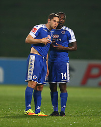 Dean Furman (C) with Onismor Bhasera of SuperSport United during the 2016 Premier Soccer League match between Supersport United and The Free Stat Stars held at the King Zwelithini Stadium in Durban, South Africa on the 24th September 2016<br /> <br /> Photo by:   Steve Haag / Real Time Images