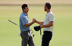 USA's Kevin Kisner ans USA's Kevin Chappell after their round on the 18th during day four of The Open Championship 2018 at Carnoustie Golf Links, Angus. PRESS ASSOCIATION Photo. Picture date: Sunday July 22, 2018. See PA story GOLF Open. Photo credit should read: Richard Sellers/PA Wire. RESTRICTIONS: Editorial use only. No commercial use. Still image use only. The Open Championship logo and clear link to The Open website (TheOpen.com) to be included on website publishing.