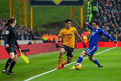 January 19, 2019 - Wolverhampton, England, United Kingdom - Raul Jimenez of Wolverhampton Wanderers in action with Ben Chilwell of Leicester City during the Premier League match between Wolverhampton Wanderers and Leicester City at Molineux, Wolverhampton, UK. On Saturday 19th January 2019. (Credit Image: © Mark Fletcher/NurPhoto via ZUMA Press)
