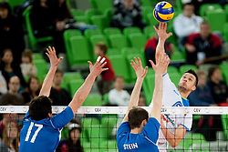 Mitja Gasparini #6 of Slovenia during qualifications match for FIVB Men's World Championship 2014 between National team Slovenia and Israel in pool B on May 24, 2013 in SRC Stozice, Ljubljana, Slovenia. (Photo By Urban Urbanc / Sportida)