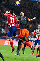 Atletico de Madrid Angel Martin Correa and Valencia Simone Zaza during La Liga match between Atletico de Madrid and Valencia C.F. at Wanda Metropolitano in Madrid , Spain. February 04, 2018. (ALTERPHOTOS/Borja B.Hojas)