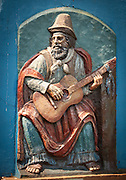 Outside statue of man playing guitar, La Boca, Buenos Aires, Argentina, South America