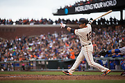 San Francisco Giants second baseman Joe Panik (12) reacts to swinging at a pitch from the New York Mets at AT&T Park in San Francisco, Calif., on August 21, 2016. (Stan Olszewski/Special to S.F. Examiner)