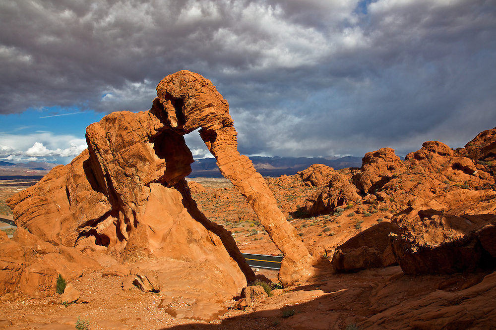 Elephant Rock, a sandstone formation that looks like an elephant and whose trunk is formed by a natural arch, is a testament to the many varied stone shapes at Valley of Fire State Park in Nevada. Valley of Fire is Nevada's oldest and largest state park.