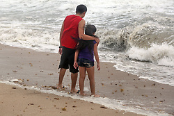 Kamila Canchola, 8, and her brother, German Sanchez, 21, both of Ft. Lauderdale, watch the surf on Fort Lauderdale Beach as Hurricane Irma pushes into South Florida on Saturday, September 9, 2017, in Fort Lauderdale, FL, USA. Photo by Amy Beth Bennett/Sun Sentinel/TNS/ABACAPRESS.COM