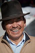 Portrait of market stall holder, Otavalo Market , Ecuador, South America