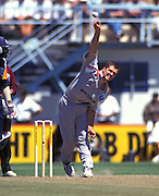 New Zealand bowler Justin Vaughan in action BNZ Centenary Series, New Zealand v India ODI, one day international cricket, Napier, 16 February 1995. © Copyright Photo: Greg Young / www.photosport.nz