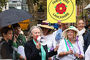 Baroness Jenny Jones from the Green Party,  speak in support of the Lancashire women and the anti-fraacking movement. Up to a hundred women from the Lancashire anti-fracking movement dressed as suffragettes congregate in Parliament Square and pay the Dep For Energy, Business and Industrial Strategy a visit, London, Unted Kingdom, September 12 2018