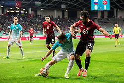 Boban Jovic of Slovenia vs Volkan Sen of Turkey  during friendly football match between National teams of Slovenia and Turkey, on June 5, 2016 in SRC Stozice, Ljubljana, Slovenia.Photo by Vid Ponikvar / Sportida