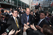 Prince William, The Duke of Cambridge, greets the crowd during a visit to Tsutaya book store in Daikanyama as Part of the GREAT Britain international marketing campaign, Tokyo, Japan. Saturday February 28th 2015. Prince William, who is travelling without his pregnant wife, Kate Middleton, is making his first visit to Japan on a 4 day tour before travelling onto China on Sunday