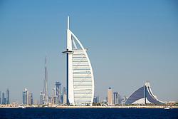 Skyline of Dubai with Burj al Arab Hotel and Burj Khalifa tower in distance in United Arab Emirates