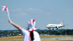The plane carrying the England team arrives at Birmingham Airport as the England squad return to the UK.
