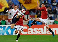"""Salvatore LANNA e Jeremy MENEZ<br /> Roma 1/11/2009 Stadio """"Olimpico""""<br /> Roma Bologna<br /> Campionato Italiano Serie A 2009/2010<br /> Foto Andrea Staccioli Insidefoto"""