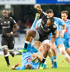 Durban. 140418. Lukhanyo Amof the Cell C Sharks during the Super Rugby match between Cell C Sharks and Vodacom Bulls at Jonsson Kings Park Stadium on April 14, 2018 in Durban, South Africa. Picture Leon Lestrade/African News Agency/ANA