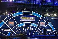 General view of the inside of the stadium Alexandra Palace arena ahead of the William Hill World Darts Championship Semi-Finals at Alexandra Palace, London, United Kingdom on 2 January 2021.