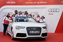 24.10.2013, Audi Lounge, Soelden, AUT, FIS Ski Alpin, Soelden, im Bild Team France during the Audi press conference prior to the alpine skiing world cup opening race at the Audia Lounge, Soelden, Austria on 2013/10/22. EXPA Pictures © 2013, PhotoCredit: EXPA/ Mitchell Gunn<br /> <br /> *****ATTENTION - OUT of GBR*****