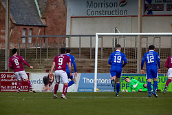 06MAR21Arbroath's Michael McKenna (8) scoring their second goal from a penalty. half time : Arbroath 2 v 3 Queen of the South, Scottish Championship played 6/3/2021 at Arbroath's home ground, Gayfield Park.