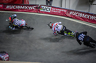 #593 (CAMPO Alfredo) ECU and #87 (WHYTE Kye) GBR at Round 2 of the 2019 UCI BMX Supercross World Cup in Manchester, Great Britain