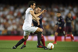 May 9, 2019 - Valencia, Spain - Daniel Parejo of Valencia and Granit Xhaka of Asenal battle for the ball during the UEFA Europa League Semi Final Second Leg match between Valencia and Arsenal at Estadio Mestalla on May 9, 2019 in Valencia, Spain. (Credit Image: © Jose Breton/NurPhoto via ZUMA Press)