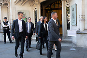 Businesswoman and campaigner Gina Miller leaves the Supreme Court under close protection after the second day of the hearing to rule on the legality of suspending or proroguing Parliament begins on September 18th 2019 in London, United Kingdom. The ruling will be made by 11 judges in the coming days to determine if the action of Prime Minister Boris Johnson to suspend parliament and his advice to do so given to the Queen was unlawful.
