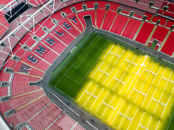 An aerial view of Wembley Stadium, London.