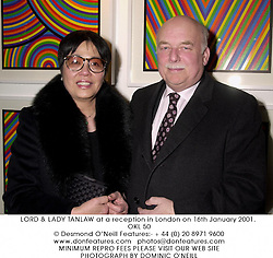 LORD & LADY TANLAW at a reception in London on 16th January 2001.<br />OKL 50