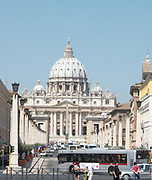 St. Peter's Basilica in the Vatican City, Italy. The church is the most renowned work of Renaissance architecture, and was designed by Donato Bramante, Michelangelo, Carlo Maderno and Gian Lorenzo Bernini. The original basilica is from 4th century AD, but the current design was completed in 1626.