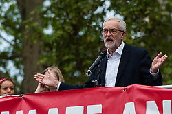 May 1, 2019 - London, Greater London, United Kingdom - Labour Party Leader Jeremy Corbyn addresses environmental activists and campaigners from several organisations who gathered in Parliament Square to protest against the government's lack of action on the climate change and destruction of the environment on 01 May, 2019 in London, England. The demonstration coincided with a debate in the House of Commons on Labour Party's Climate Emergency motion to declare a national emergency on environmental and climate change which the MPs passed without a vote. (Credit Image: © Wiktor Szymanowicz/NurPhoto via ZUMA Press)