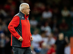 Head Coach Warren Gatland of Wales during the pre match warm up<br /> <br /> Photographer Simon King/Replay Images<br /> <br /> Friendly - Wales v England - Saturday 17th August 2019 - Principality Stadium - Cardiff<br /> <br /> World Copyright © Replay Images . All rights reserved. info@replayimages.co.uk - http://replayimages.co.uk
