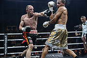 Boxen: World Boxing Super Series, Middleweight, Viertelfinale, Schwerin, 27.10.2017<br /> Juergen Braehmer (Germany, black) - Rob Brant (USA, gold)<br /> © Torsten Helmke