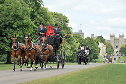 © under license to London News Pictures. WINDSOR, UK  13/05/2011. The Carriage Marathon makes its way along the Long Walk at Windsor Castle. The Royal Windsor Horse Show in the grounds of Windsor Castle today (13 May 2011). Photo credit should read Stephen Simpson/LNP.