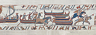 Bayeux Tapestry scene 39:  Horses are disembarked in England from Duke Williams invasion fleet. BYX39 .<br /> <br /> If you prefer you can also buy from our ALAMY PHOTO LIBRARY  Collection visit : https://www.alamy.com/portfolio/paul-williams-funkystock/bayeux-tapestry-medieval-art.html  if you know the scene number you want enter BXY followed bt the scene no into the SEARCH WITHIN GALLERY box  i.e BYX 22 for scene 22)<br /> <br />  Visit our MEDIEVAL ART PHOTO COLLECTIONS for more   photos  to download or buy as prints https://funkystock.photoshelter.com/gallery-collection/Medieval-Middle-Ages-Art-Artefacts-Antiquities-Pictures-Images-of/C0000YpKXiAHnG2k