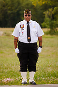 29 AUGUST 2020 - RUNNELLS, IOWA: A VFW member at the funeral for Pvt. Roy Brown Jr. in Runnells, IA. Pvt. Brown was a US Army soldier in World War II. He was an infantryman in the 126th Infantry Regiment, 32nd Infantry Division, serving in the Australian Territory of Papua (now Papua New Guinea). He went missing in action on Dec. 2, 1942. Unidentified remains were recovered on Feb. 2, 1943 and were eventually interred in the Manila American Cemetery. On May 14, 2019, Defense POW/MIA Accounting Agency using dental records, circumstantial evidence and DNA identified the remains as Pvt. Brown's. He was reinterred in the Lowman Cemetery in Runnells Saturday.     PHOTO BY JACK KURTZ