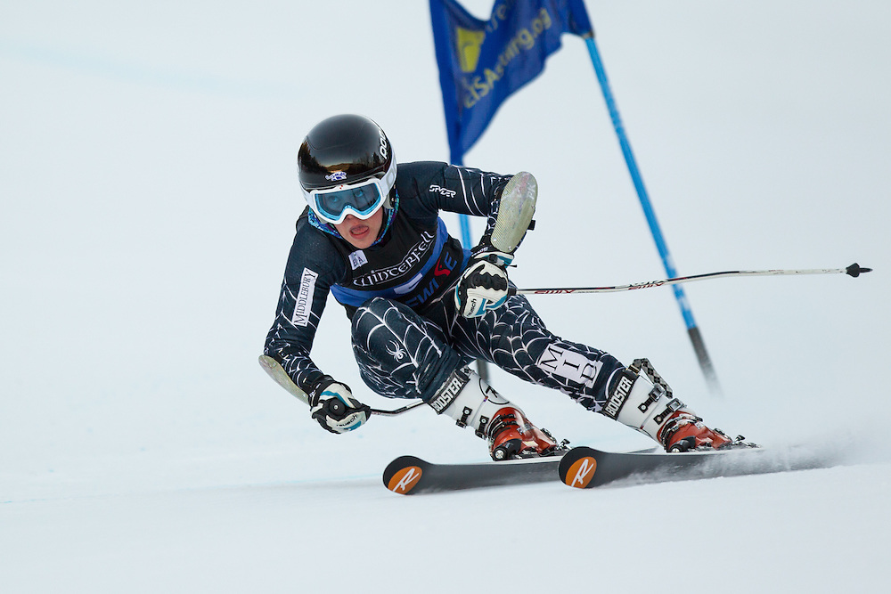 Yina Moe-Lange of Middlebury College, skis during the second run of the women's giant slalom at the University of New Hampshire Carnival at Attitash Mountain on January 24, 2014 in Bartlett, NH. (Dustin Satloff/EISA)