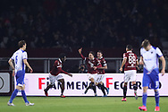 Simone Verdi of Torino FC celebrates with team mates after scoring to give the side a 1-0 lead during the Serie A match at Stadio Grande Torino, Turin. Picture date: 8th February 2020. Picture credit should read: Jonathan Moscrop/Sportimage