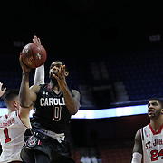 Sindarius Thornwell, South Carolina, rebounds during the St. John's vs South Carolina Men's College Basketball game in the Hall of Fame Shootout Tournament at Mohegan Sun Arena, Uncasville, Connecticut, USA. 22nd December 2015. Photo Tim Clayton
